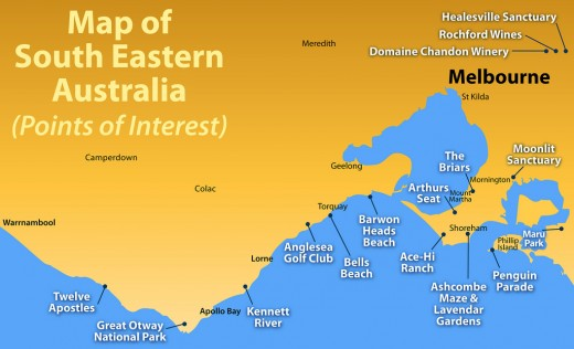 Map of South Eastern Australia (Points of Interest)