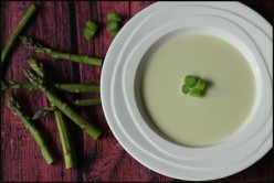 Heavenly Asparagus Soup with Tarragon Creme Fraiche