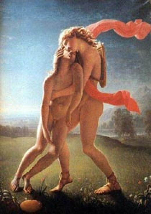 Apollon with a male lover. Likely Hyacinthus.