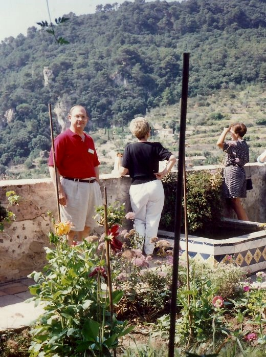 Viewing one of the garden plots + hillside scenery from the monastery