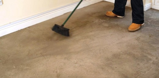 Sweep the floor thoroughly to remove any dirt and dust.