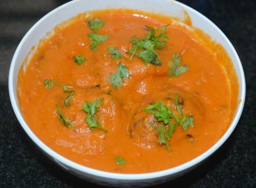 Cabbage Kofta Curry or Cabbage Dumplings in Tomato Gravy