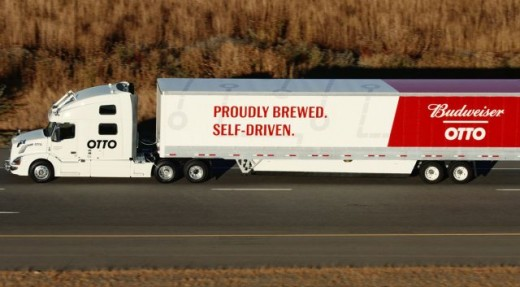 """Uber's UberFreight division testing a self- driving truck named """"Otto"""" on roads and highways in Colorado.  Make a delivery of beer for Anheuser-Busch."""