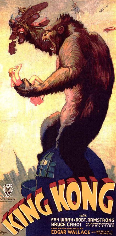 This is a scan of the original publicity poster for King Kong (1933). The scan was posted at www.widescreenmuseum.com. This version has had its exposure adjusted. Date 	Original movie poster from 1933