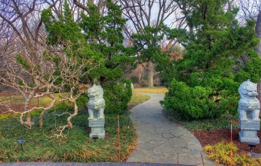 The entrance into the Chinse gardens at the Missouri Botanical Gardens in St. Louis