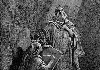 Ancient Hebrew prophet stands next to his scribe