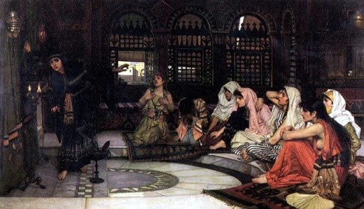 Consulting the Oracle by John William Waterhouse, showing eight priestesses in a temple of prophecy.