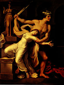 The Trojan prophetess Cassandra is being dragged during the fall of Troy (which she accurately predicted, but no one believed her).