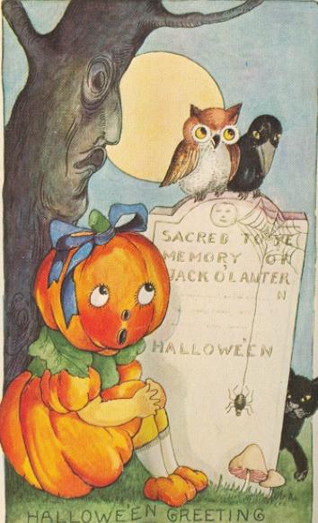 Vintage Halloween Postcard Whitney Made Anthropomorphic Pumpkin Girl