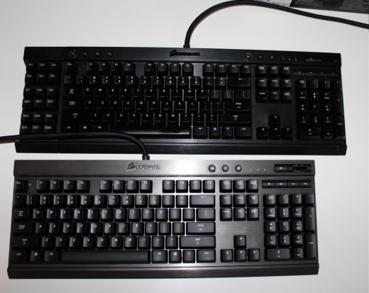 An above view of the Corsair Vengeance K95 and K70 Mechanical Keyboard.