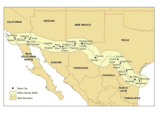 Map of the U.S. - Mexico Border Region.