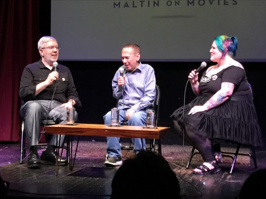 Leonard Maltin (left) and his daughter Jessie (right) recording their podcast Maltin On Movies with guest Gilbert Gottfried (middle).