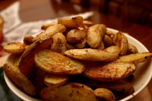 seasoned potato wedges (from fingerling potatoes)