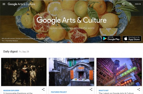 Screenshot of the Google Arts & Culture home page