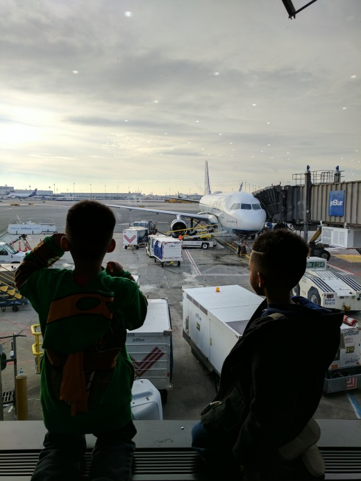 My husband is a really nervous flyer, I am not usually.  I believe it's because I've flown a lot more than he has.  That's why I want to fly with my sons as often as I can so they will not become nervous flyers when they grow up.