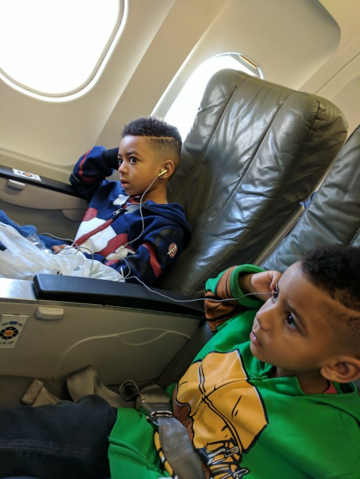 The first time we flew I did not prepare with earbuds for each of us.  That fact aside, I really love traveling with JetBlue.  The personal TVs really chilled my kids out during the flight.