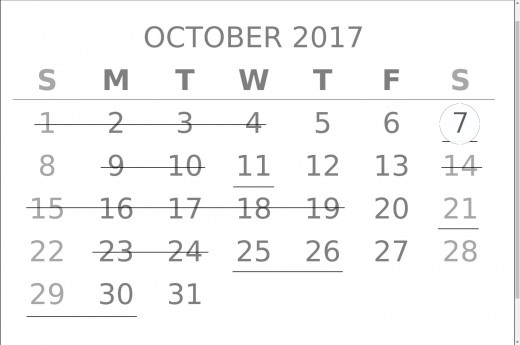 Forecast for October 2017 with greatest emphasis on the 7th (If there is a double underlined date before November 2017, this would be it).