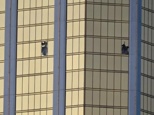 In this picture we can see the windows that the gunman broke to shoot at the people below, while they were attending a concert. The question we should ask ourselves here is this. Will the American government try to control fire arms now?