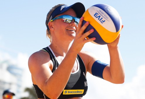 Beach volleyball player Janne Kongshavn is seen here getting ready to serve the ball during a match in 2016.