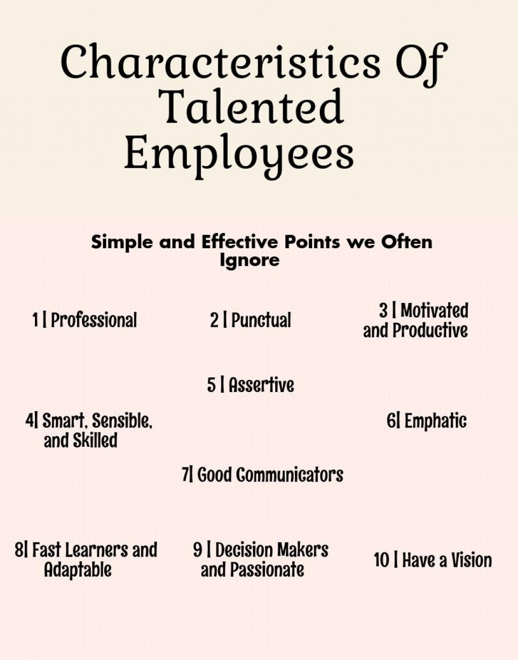characteristic of good employees We broke down the best qualities to look in a good employee to make sure they're a great fir for your company and your culture.