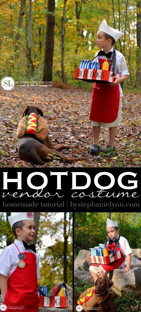 You can be the hot dog vendor and your dog can be the hot dog!  You will get plenty of laughs with this homemade owner and pet costume idea.