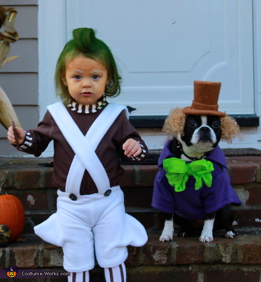 Want to get some laughs with a DIY costume this Halloween?  A canine Willy Wonka and his human Oompa Loompa might just be the costume for you and your dog.