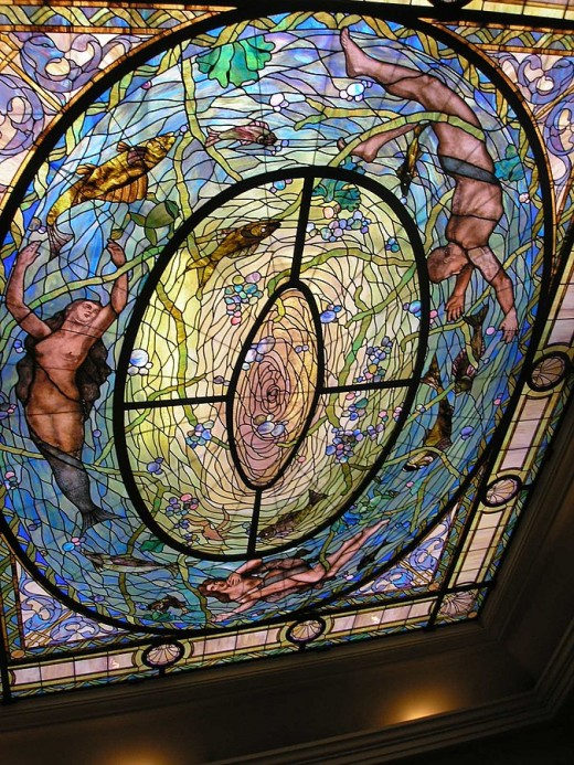 Stained glass above The Fountain of Youth statue in the Fordyce Bathhouse