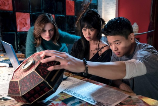 Clare (Joey King), Ryan (Ki Hong Lee), and his cousin as they try to decipher the meaning of the music box.