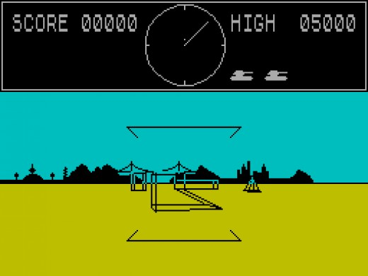 A vector graphics tank is in your sights in 3D Tank Duel on the ZX Spectrum