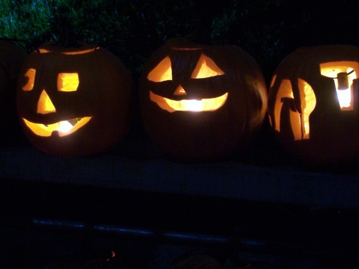 Carved Pumpkins with a lighted candle are a common Halloween sight in America, while back in Europe, carved turnips were often used to scare away the evil spirits.,