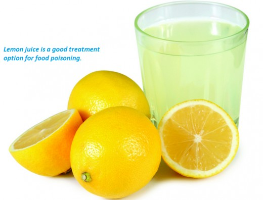 Food poisoning can be treated by drinking lemon juice.