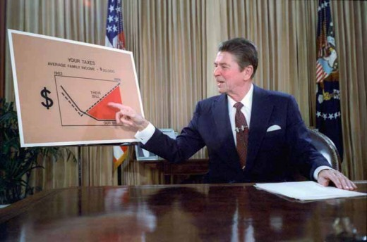 President Reagan addressing the nation of his Reaganomics outline to combat inflation from the Oval Office on July 27, 1981