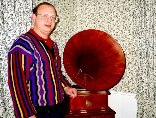 My husband standing next to Lillie Langtry's gramophone.