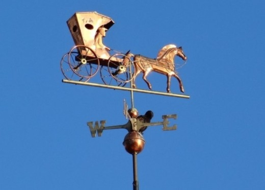 A weathervane on the portico of a local nursing home