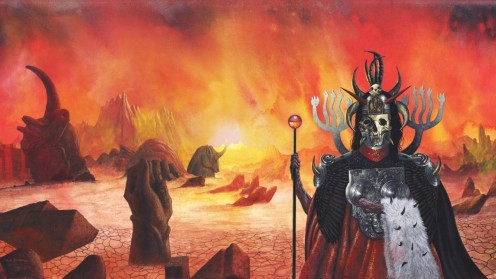 The album's cover shows a skeleton dressed as a warrior and it is standing in the middle of a desert with various statues. The cover also shows various rock formations.