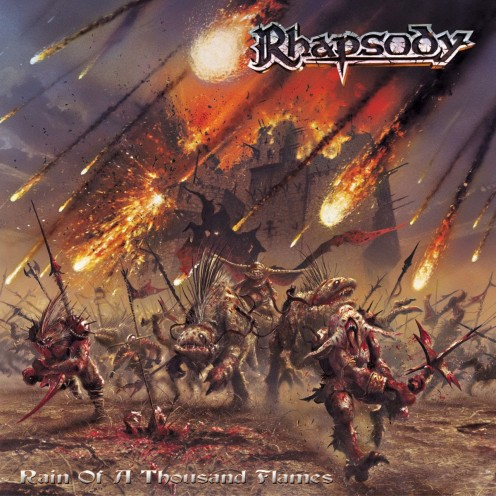 The album's cover depicts the fantasy theme behind the story as the fire is coming down from the sky and the warriors must defend their kingdom.