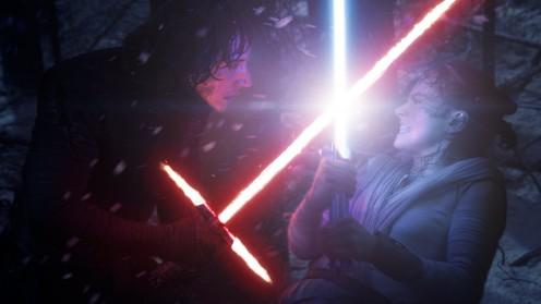 Rey dueling Kylo Ren