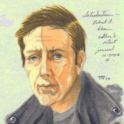 Watercolor self portrait by Robert A. Sloan