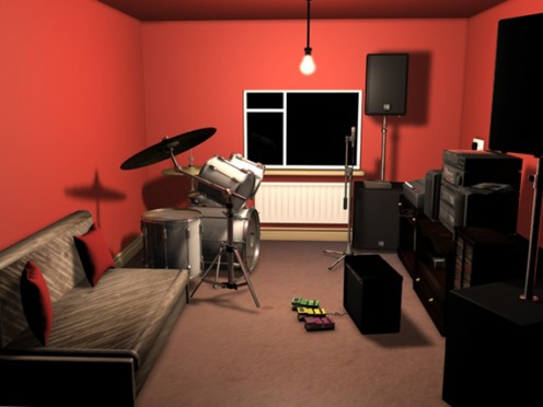 A simple area in your home could serve as an office/music listening room.