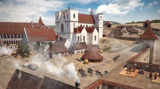 Inner yard of the Castle and the Cathedral as the result of Pazirik's visual reconstruction method.