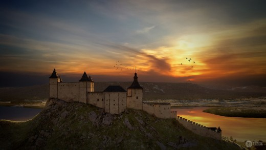 Szigliget in sunset. The upper Castle, expanded late, is the oldest part of the building.