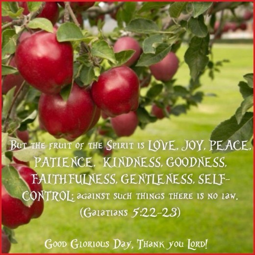 This photo is about Fruits of the spirit with an apple fruits in Galatians 5: 22 to 23