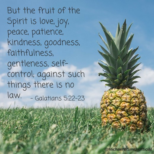 This photo talks about Galatians 5:22-23 from Micheal W. Smith that shows Pineapple fruit