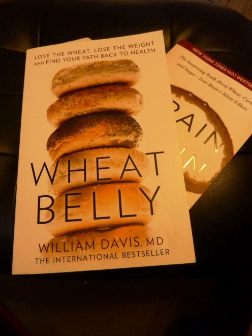My copy of Wheat Belly on the footstool. This is a book everyone should read.