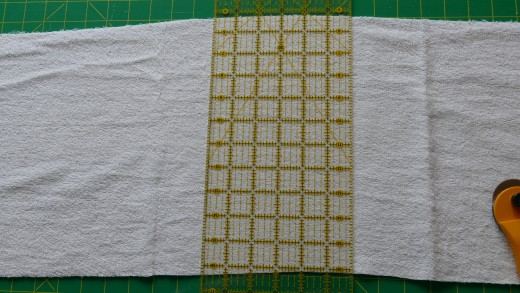 Depending on the amount of fabric you have bought you will also need to cut the fabric to 17 or 18 inches lengthwise. This piece of fabric should be more than enough to fit the pattern on.