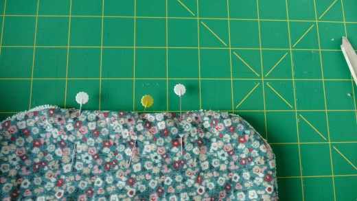 Make sure the edges of the opening a flush with the edges of the rest of the pattern and pin closed.