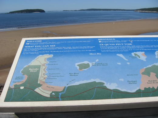 Map of the coast at New River Beach in New Brunswick, Canada.