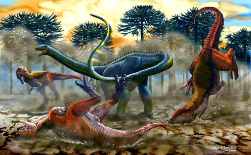 Leinkupal fending off a trio of large theropods, by Jorge A. Gonzalez.