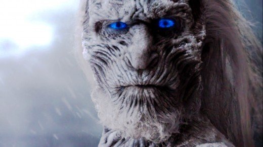 Notice the piercing blue eyes of the White Walker