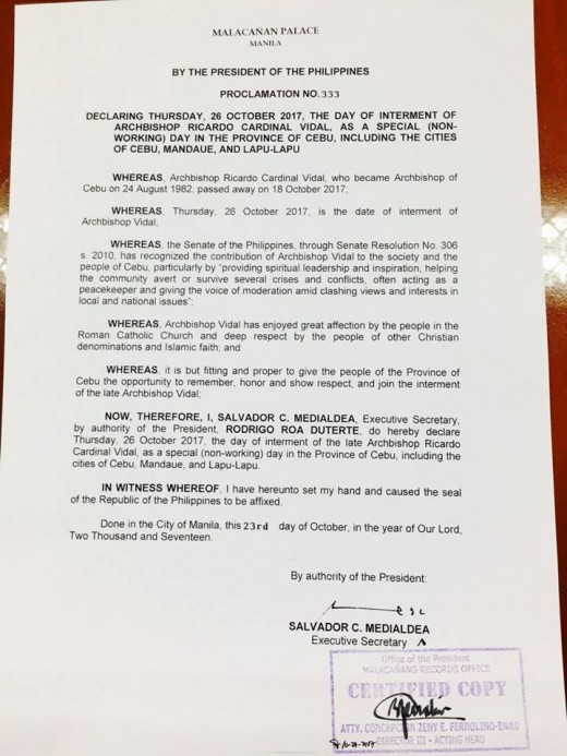 This photo is the signed by Philippine President Rodrigo Duterte which is the Proclamation no. 333 declaring special non-working holiday in Cebu on October 26, 2017
